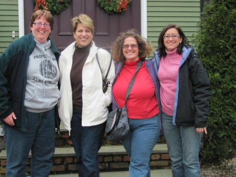 I wore red at a mini reunion with Kristie (with the white coat) a couple of years ago.