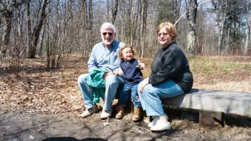 Hiking the Robert Frost years ago (when Sarah was around 2)
